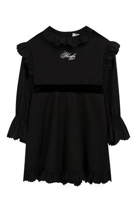 Детское хлопковое платье с поясом PHILOSOPHY DI LORENZO SERAFINI KIDS черного цвета, арт. PJAB43/CA241/UH015/L-XL   Фото 1