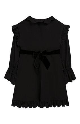 Детское хлопковое платье с поясом PHILOSOPHY DI LORENZO SERAFINI KIDS черного цвета, арт. PJAB43/CA241/UH015/L-XL   Фото 2