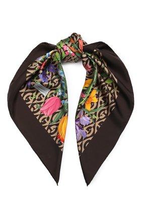Женский шелковый платок GUCCI коричневого цвета, арт. 595800/3G001 | Фото 1