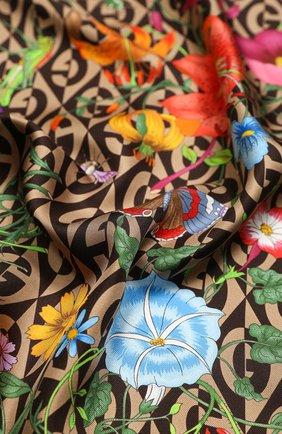 Женский шелковый платок GUCCI коричневого цвета, арт. 595800/3G001 | Фото 2