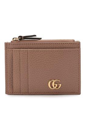Женский кожаный футляр для кредитных карт GUCCI бежевого цвета, арт. 574804/CA00G | Фото 1