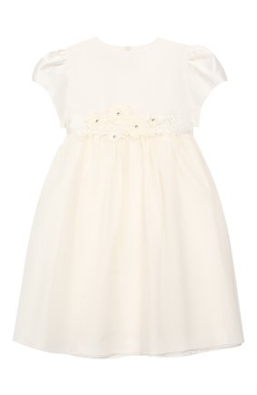Детское хлопковое платье с поясом CAF белого цвета, арт. 204-TC-PE16/5A-7A | Фото 1