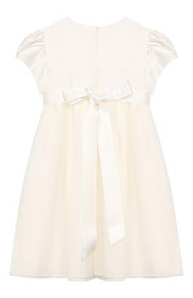 Детское хлопковое платье с поясом CAF белого цвета, арт. 204-TC-PE16/5A-7A | Фото 2