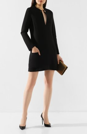 Женское платье из смеси шерсти и вискозы STELLA MCCARTNEY черного цвета, арт. 578404/SNA34   Фото 2
