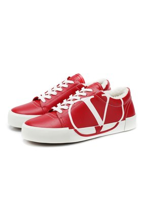 Женские кожаные кеды valentino garavani tricks VALENTINO красного цвета, арт. SW2S0P35/AXV | Фото 1