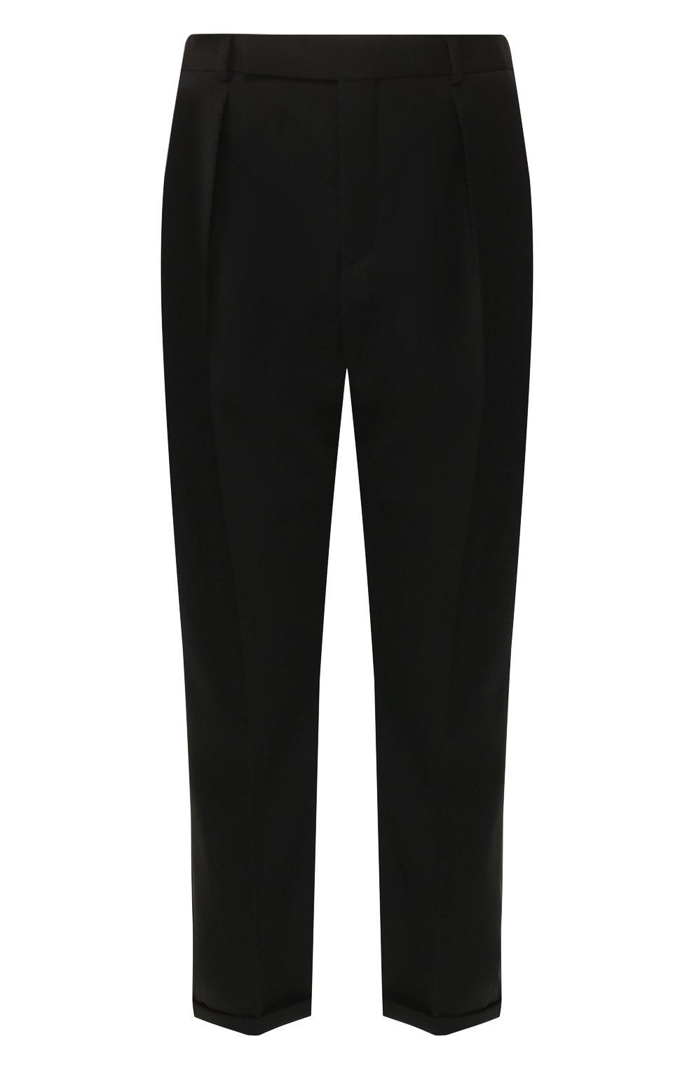 Мужские шерстяные брюки SAINT LAURENT черного цвета, арт. 563592/Y028V | Фото 1 (Материал внешний: Шерсть; Длина (брюки, джинсы): Стандартные; Случай: Повседневный, Формальный; Стили: Классический; Материал подклада: Шелк)