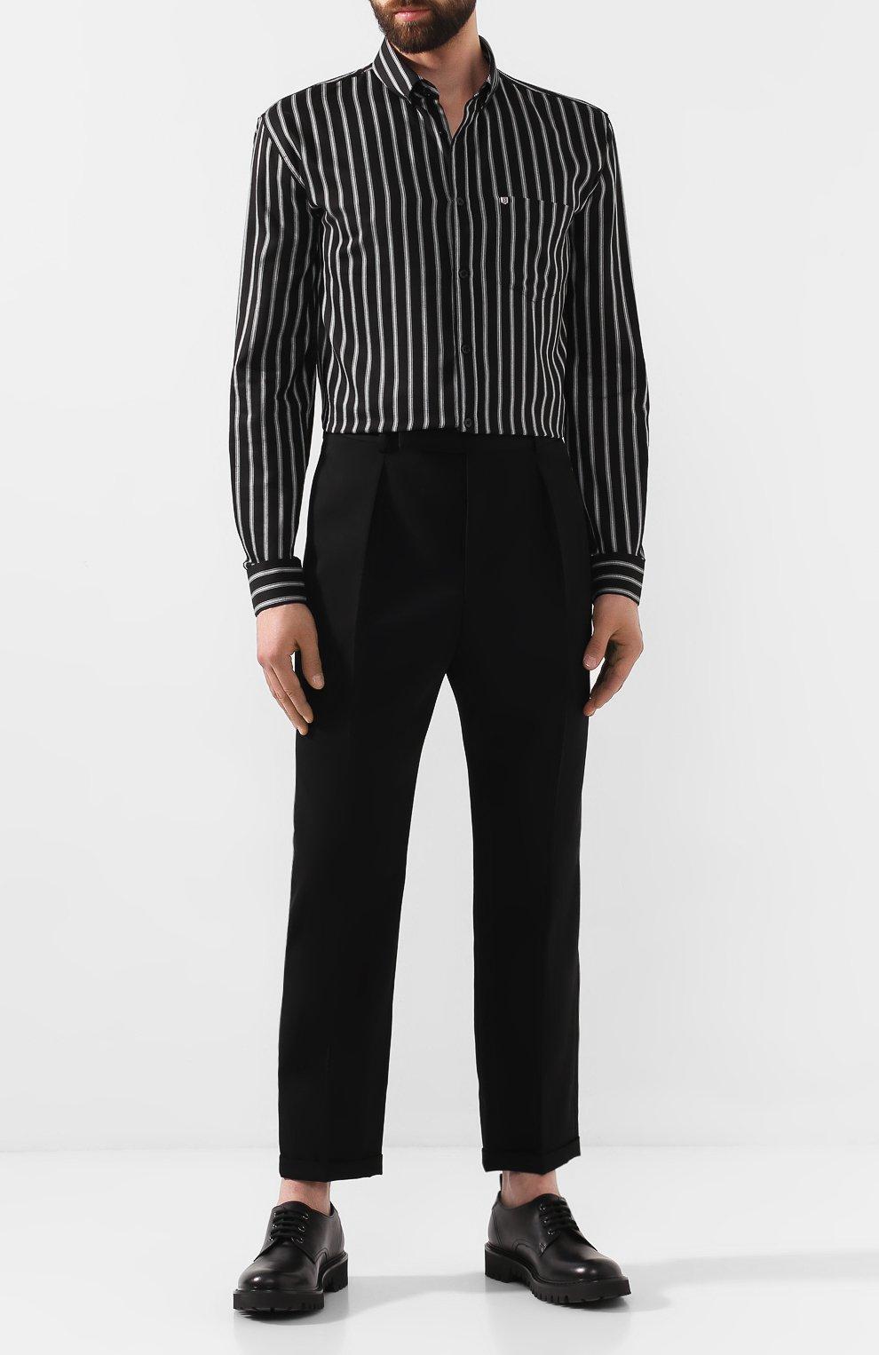 Мужские шерстяные брюки SAINT LAURENT черного цвета, арт. 563592/Y028V | Фото 2 (Материал внешний: Шерсть; Длина (брюки, джинсы): Стандартные; Случай: Повседневный, Формальный; Стили: Классический; Материал подклада: Шелк)