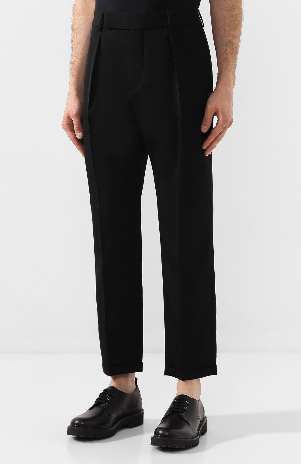 Мужские шерстяные брюки SAINT LAURENT черного цвета, арт. 563592/Y028V | Фото 3 (Материал внешний: Шерсть; Длина (брюки, джинсы): Стандартные; Случай: Повседневный, Формальный; Стили: Классический; Материал подклада: Шелк)