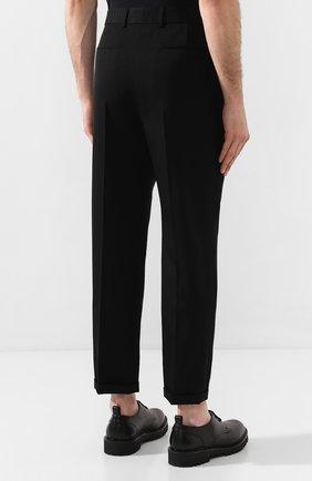 Мужские шерстяные брюки SAINT LAURENT черного цвета, арт. 563592/Y028V | Фото 4 (Материал внешний: Шерсть; Длина (брюки, джинсы): Стандартные; Случай: Повседневный, Формальный; Стили: Классический; Материал подклада: Шелк)