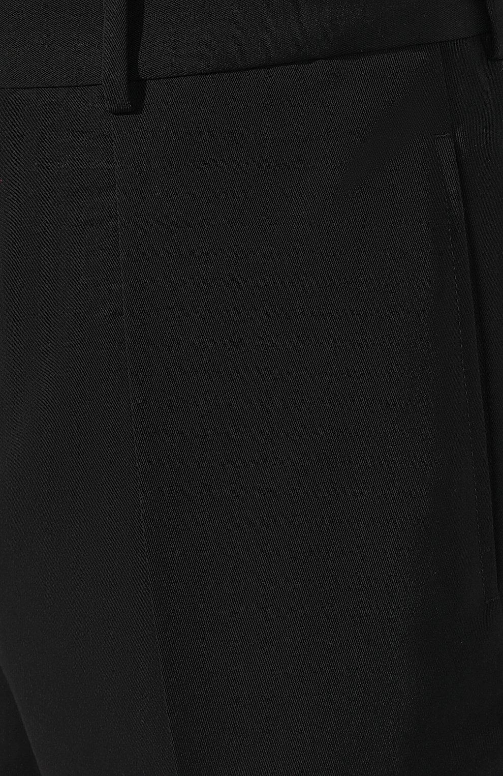 Мужские шерстяные брюки SAINT LAURENT черного цвета, арт. 563592/Y028V | Фото 5 (Материал внешний: Шерсть; Длина (брюки, джинсы): Стандартные; Случай: Повседневный, Формальный; Стили: Классический; Материал подклада: Шелк)