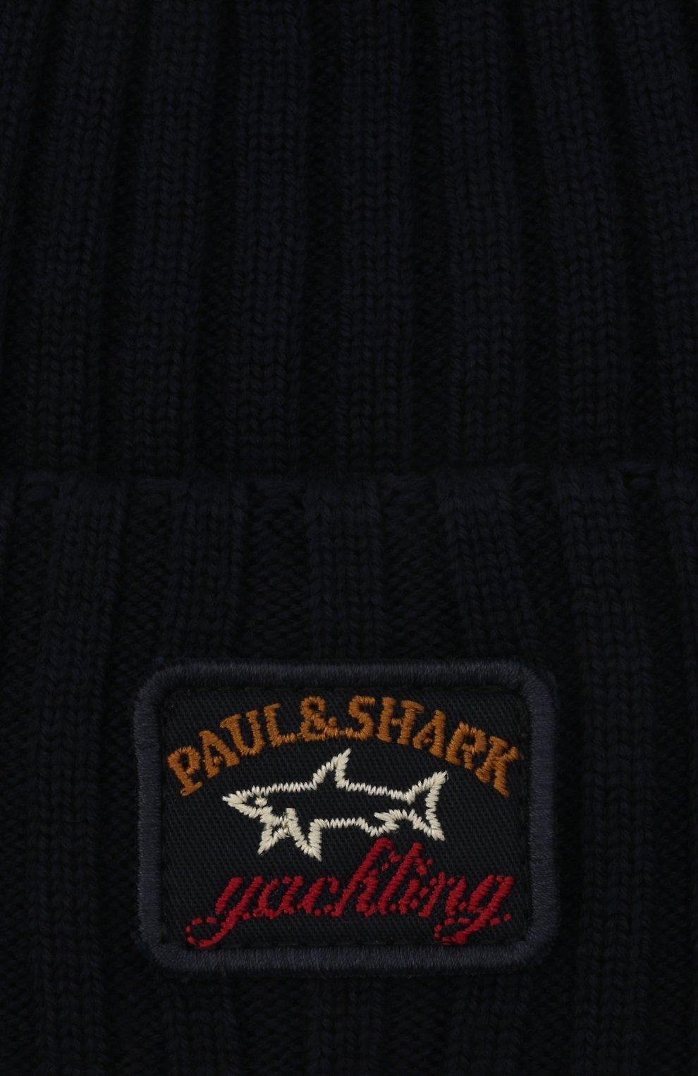 Мужская шерстяная шапка PAUL&SHARK темно-синего цвета, арт. C0P1051/FLV   Фото 3