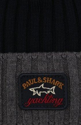 Мужская шерстяная шапка PAUL&SHARK серого цвета, арт. C0P1054/FLV   Фото 3