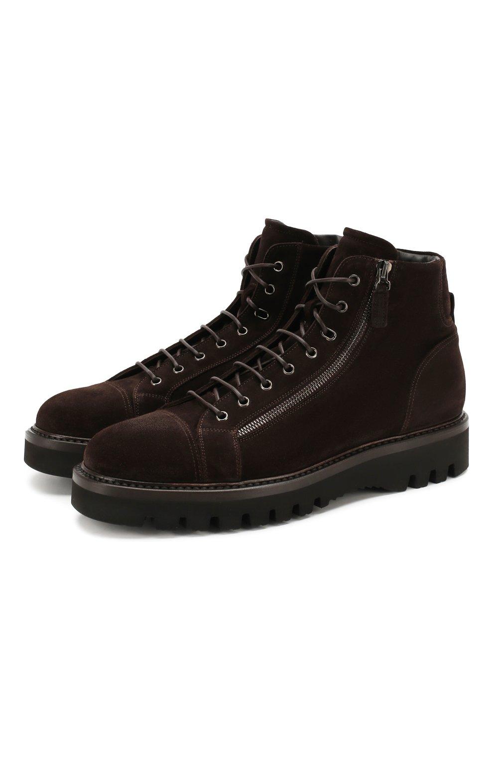 Мужские замшевые ботинки W.GIBBS коричневого цвета, арт. 0672001/1915   Фото 1