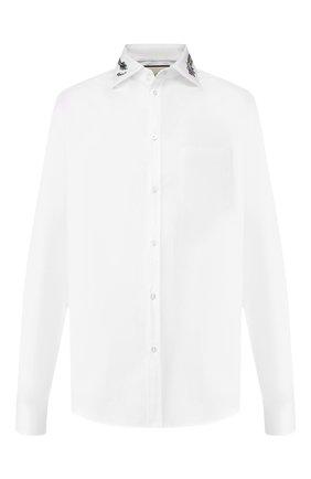 Мужская хлопковая рубашка GUCCI белого цвета, арт. 574522/ZACB0 | Фото 1