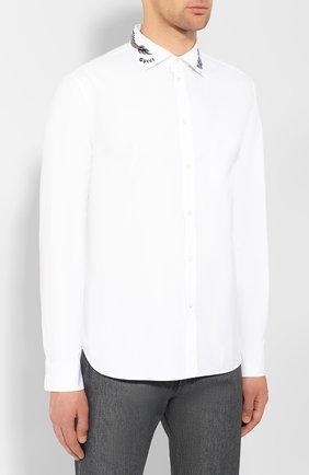 Мужская хлопковая рубашка GUCCI белого цвета, арт. 574522/ZACB0 | Фото 3