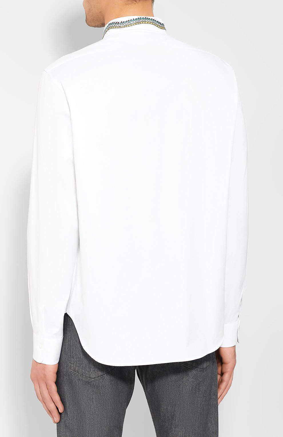 Мужская хлопковая рубашка GUCCI белого цвета, арт. 574522/ZACB0 | Фото 4