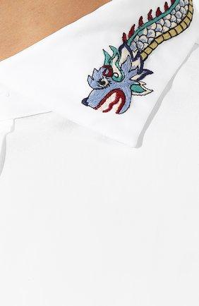 Мужская хлопковая рубашка GUCCI белого цвета, арт. 574522/ZACB0 | Фото 5
