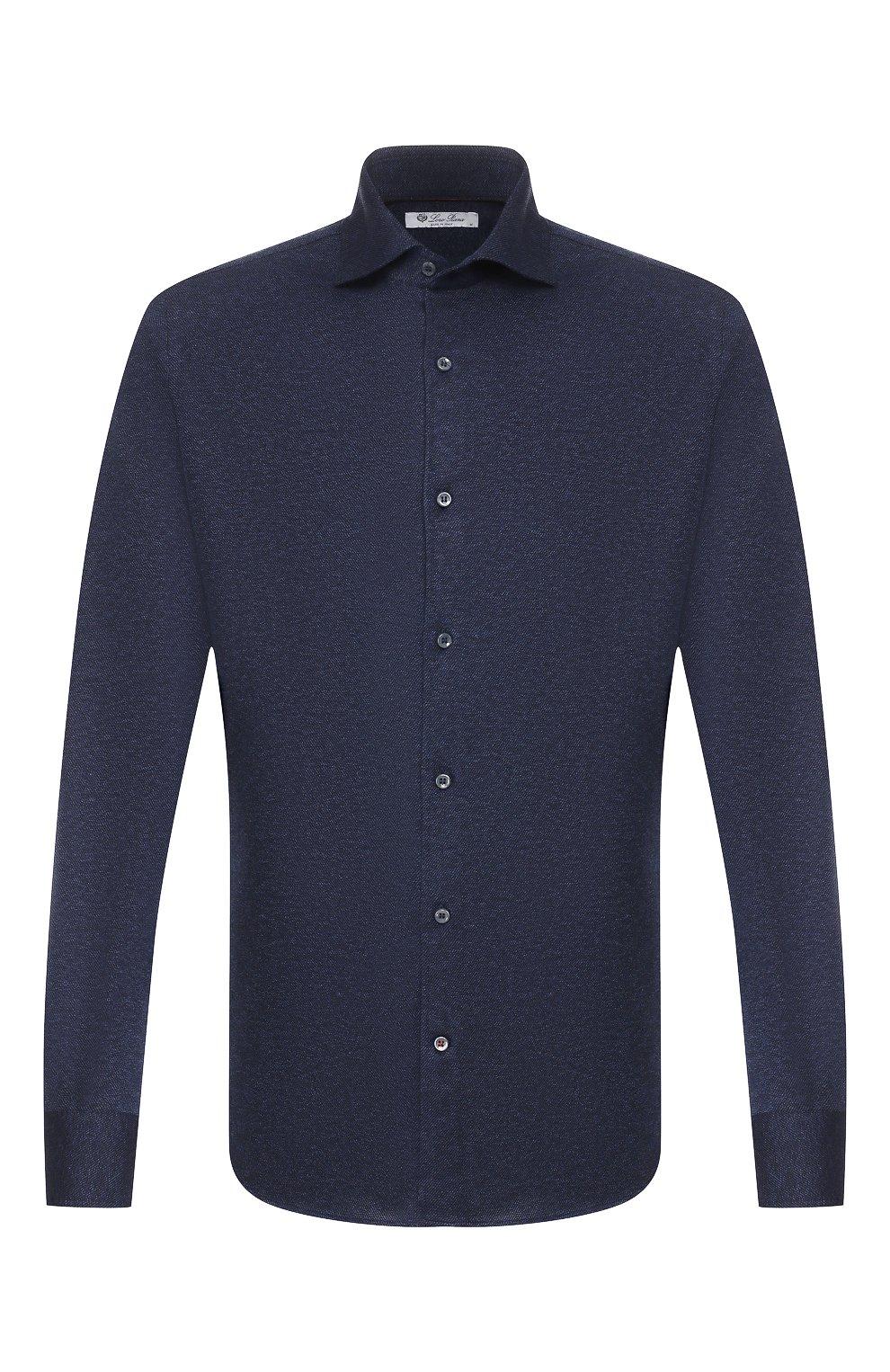 Мужская хлопковая рубашка LORO PIANA темно-синего цвета, арт. FAI2432 | Фото 1
