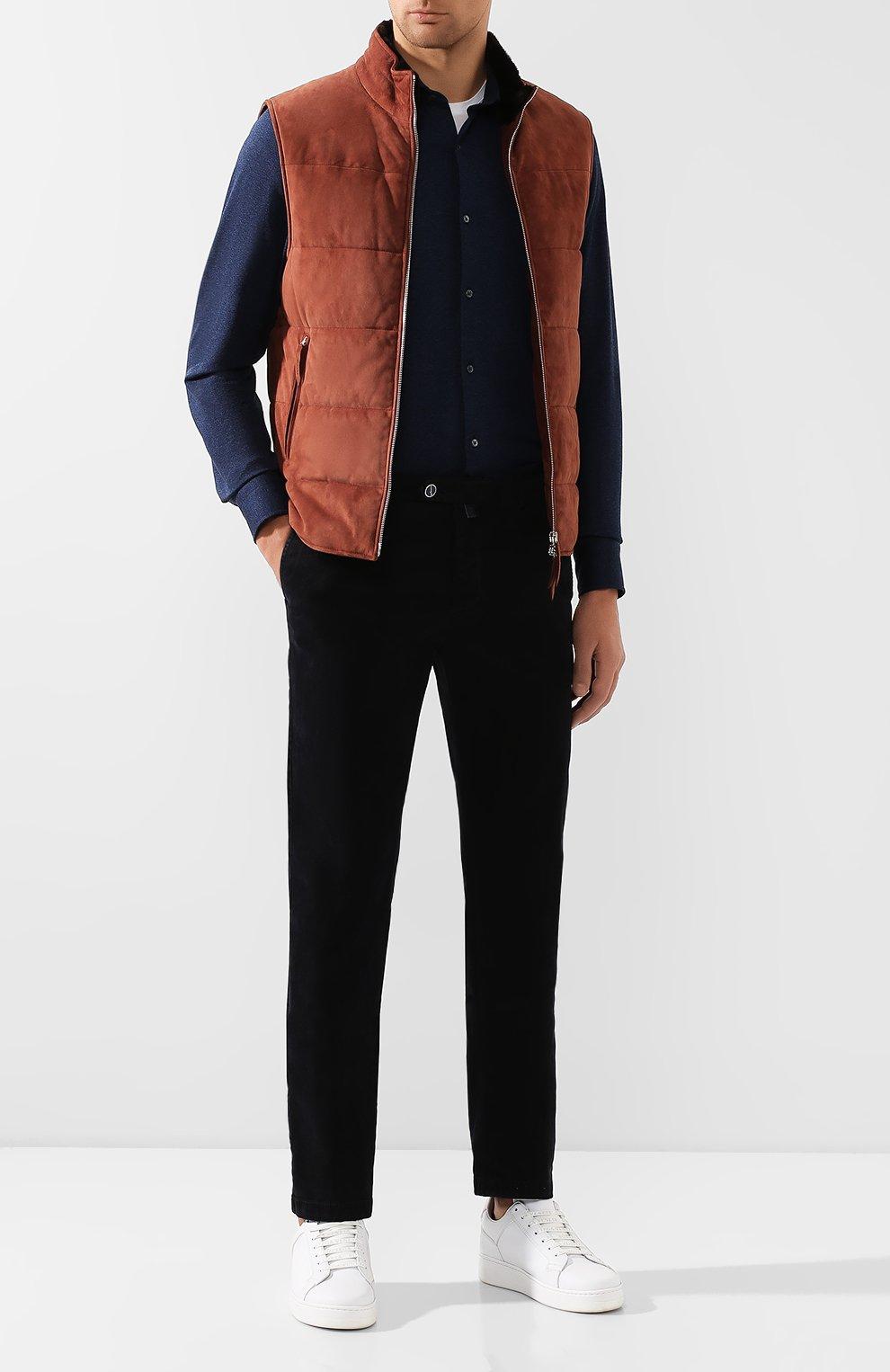 Мужская хлопковая рубашка LORO PIANA темно-синего цвета, арт. FAI2432 | Фото 2