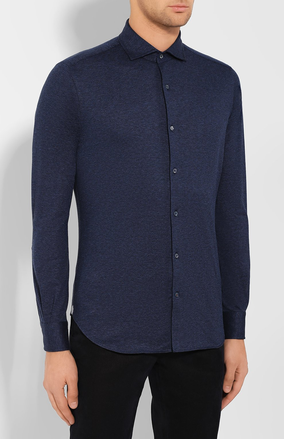Мужская хлопковая рубашка LORO PIANA темно-синего цвета, арт. FAI2432 | Фото 3