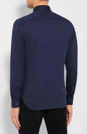 Мужская хлопковая рубашка LORO PIANA темно-синего цвета, арт. FAI2432 | Фото 4