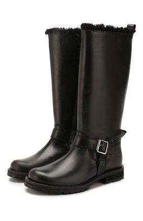 Детские кожаные сапоги с меховой отделкой GALLUCCI черного цвета, арт. J40004BM/ST S S CUG VIT | Фото 1