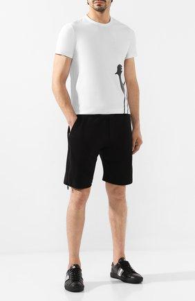 Мужские кожаные кеды new monaco MONCLER черного цвета, арт. E2-09A-10376-00-02S19 | Фото 2