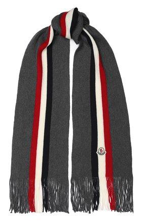 Мужской шерстяной шарф MONCLER темно-серого цвета, арт. E2-091-00026-00-02292 | Фото 1