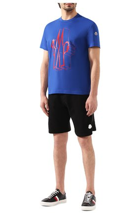 Мужская хлопковая футболка MONCLER синего цвета, арт. E2-091-80022-50-8390T   Фото 2