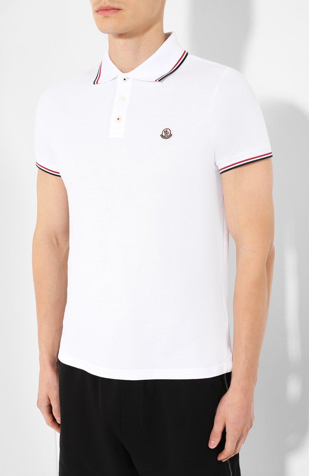 Мужское хлопковое поло MONCLER белого цвета, арт. E2-091-83456-00-84556 | Фото 3
