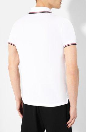 Мужское хлопковое поло MONCLER белого цвета, арт. E2-091-83456-00-84556 | Фото 4