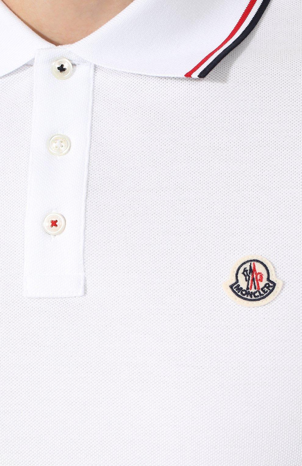 Мужское хлопковое поло MONCLER белого цвета, арт. E2-091-83456-00-84556 | Фото 5