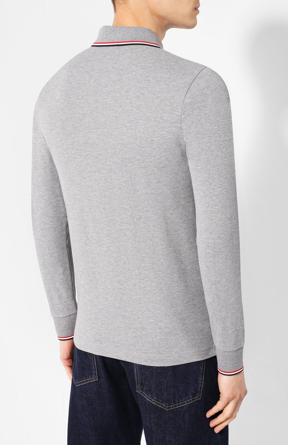 Мужское хлопковое поло MONCLER серого цвета, арт. E2-091-83480-00-84556   Фото 4