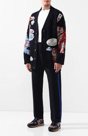 Мужской брюки из смеси вискозы и шерсти TRIPLE RRR черного цвета, арт. FW20 P012 R12 3009 | Фото 2
