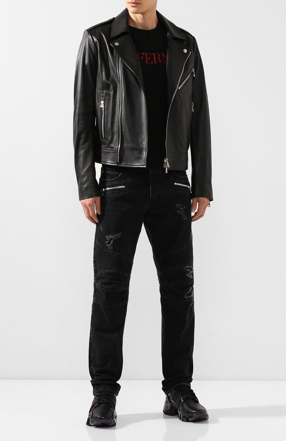 Кожаные кроссовки Jaw Givenchy черные | Фото №2
