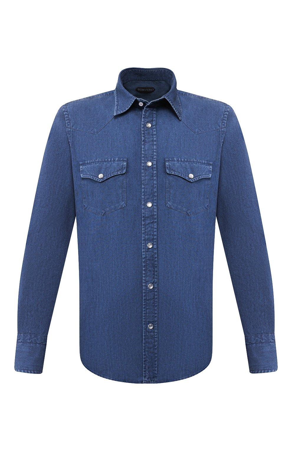 Мужская джинсовая рубашка TOM FORD светло-голубого цвета, арт. 6FT420/94MEKI | Фото 1