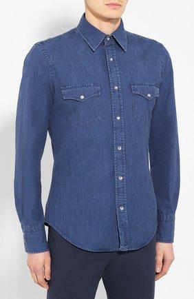 Мужская джинсовая рубашка TOM FORD светло-голубого цвета, арт. 6FT420/94MEKI | Фото 3