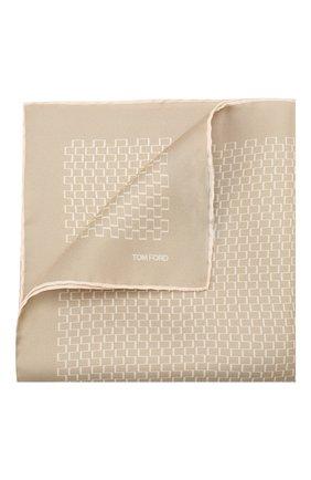 Мужской шелковый платок TOM FORD бежевого цвета, арт. 6TF94/TF312 | Фото 1