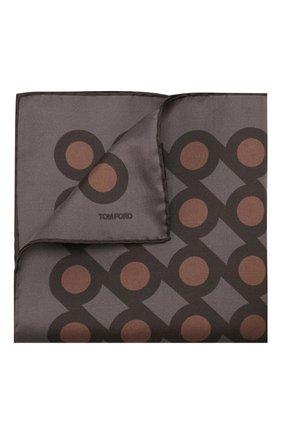 Мужской шелковый платок TOM FORD коричневого цвета, арт. 6TF99/TF312   Фото 1