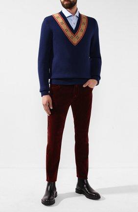 Мужской шерстяной пуловер GUCCI синего цвета, арт. 577089/XKAU0 | Фото 2