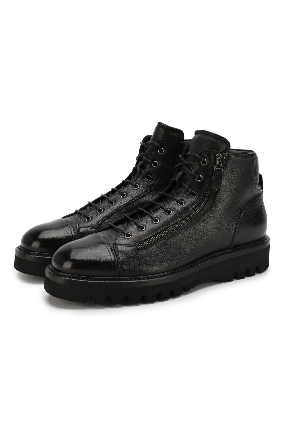 Мужские кожаные ботинки W.GIBBS черного цвета, арт. 0672001/1297   Фото 1