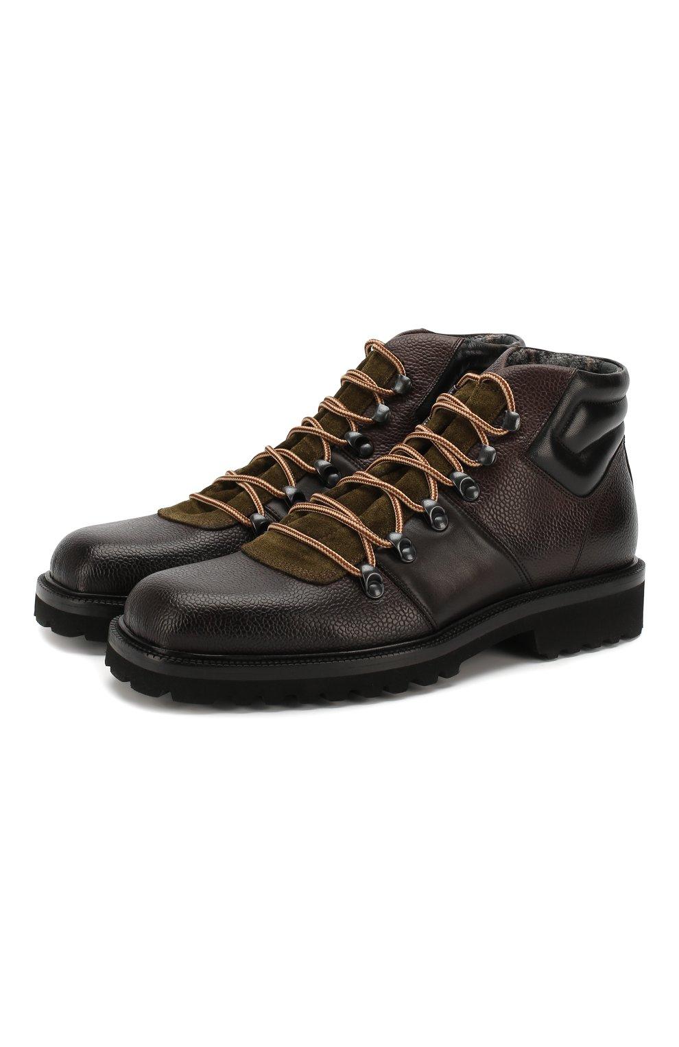 Мужские кожаные ботинки ALDO BRUE темно-коричневого цвета, арт. AB6083H-CBY | Фото 1