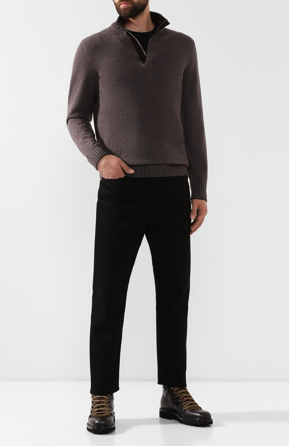 Мужские кожаные ботинки ALDO BRUE темно-коричневого цвета, арт. AB6083H-CBY | Фото 2