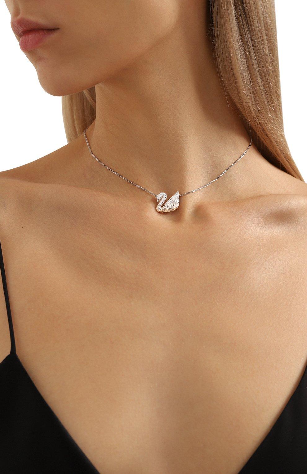 Женская кулон iconic swan SWAROVSKI серебряного цвета, арт. 5215034   Фото 2