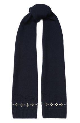 Детский шарф из хлопка и шерсти CHLOÉ синего цвета, арт. C11666 | Фото 1