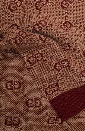 Детский шарф из шерсти и хлопка GUCCI бордового цвета, арт. 574722/4K208 | Фото 2