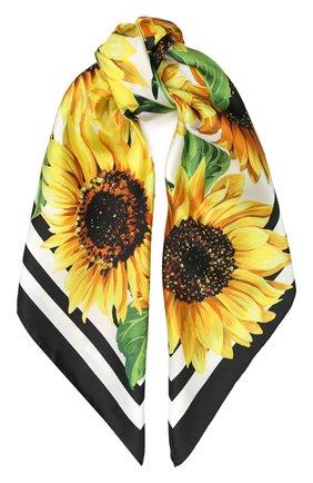 Женский шелковый платок DOLCE & GABBANA желтого цвета, арт. FN090R/GD040 | Фото 1