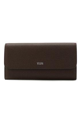 Женские кожаный кошелек TOD'S темно-коричневого цвета, арт. XAWSELB9501WEB | Фото 1