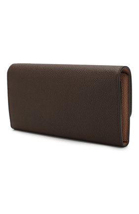 Женские кожаный кошелек TOD'S темно-коричневого цвета, арт. XAWSELB9501WEB | Фото 2