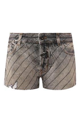 Женские джинсовые шорты FILLES A PAPA серого цвета, арт. NITR0 CRYSTAL DENIM | Фото 1
